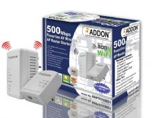 Addon NHP5010BD1 500Mbps Powerline AV500 Starter Kit  / Twin Pack - 300Mbps WiFi Extender / WiFi Booster with Two Ethernet Ports - UK Plug